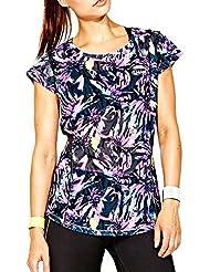 Elle Sport Women's Printed Mesh Loose Fit Performance T-Shirt