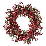 Sayla Navidad Decoración Guirnalda de Navidad Corona de Navidad Decoración Guirnaldas de Puertas para Fiestas de Navidad con Cono de Pino Baya 60cm