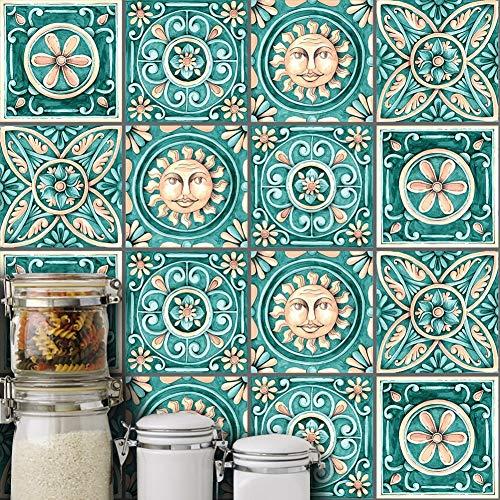 Italienische Schlafzimmer Dekor (AchidistviQ-10Pcs Italienische wasserdichte Fliesenaufkleber Küche Badezimmer Boden Wand Dekor - 15 * 15cm)
