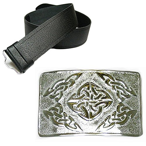 New Leather Man Fine Bead Belt Kilt & Premium Celtic Square Buckle - Choose Size - Black, Medium (28-36 In)