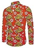 Funnycokid Hemd Herren Oberteile Druck Langarm Button Down Collar Irre Pizza Herren Night Club Shirt