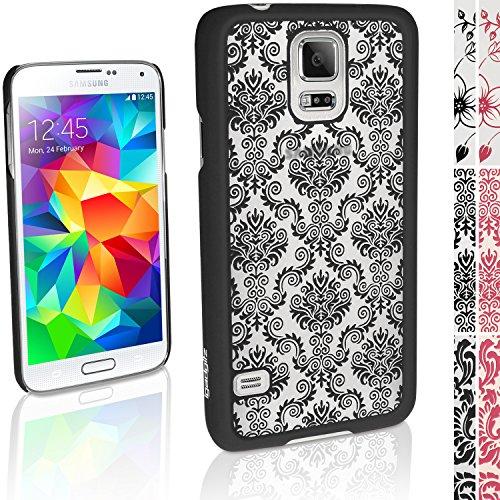 """igadgitz """"3D Designer Collection'' Schwarz Damask Muster Hart Tasche Hülle für Samsung Galaxy S5 SV SM-G900 + Display Schutzfolie"""