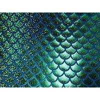 tessuto Jersey sirena scala pesce Tale Foil -2W materiale elasticizzato 112cm verde blu (venduto al metro)