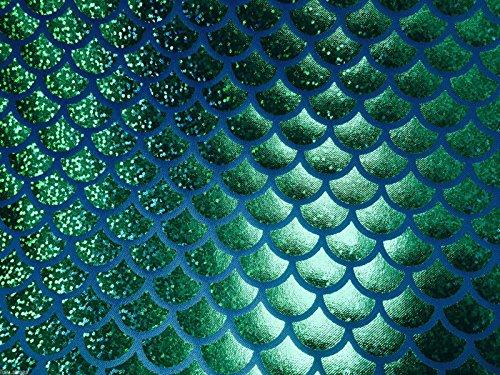 Jersey Mermaid Maßstab Stoff Fisch Tale Folie-2W Stretch Material 112cm breit grün blau (Meterware)