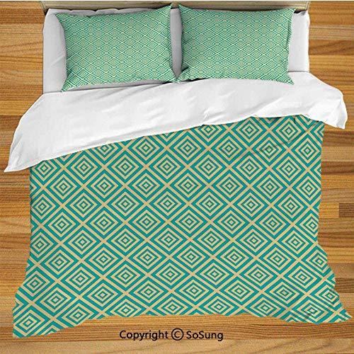 Soefipok Art-Deco-Bettwäsche-Bettbezug-Set, geschachtelte Quadrate, geometrisches, zeitgenössisches Design, symmetrischer Fliesen-Druck -