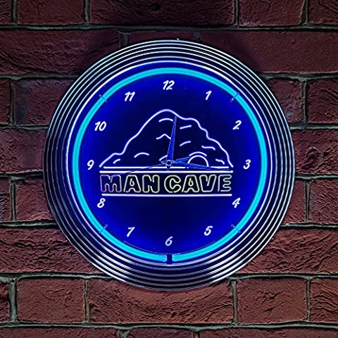 Mancave Neon Uhr 240V 3Zinken UK