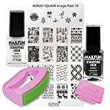 KONAD Fancy Stamping Set 10 inkl. Fancy Maxi Stempel + Scrapper + Square Schablone No. 10 Christmas Weihnachten + 11ml NAILFUN Stampinglack weiss + 11ml NAILFUN Stampig-Lack schwarz