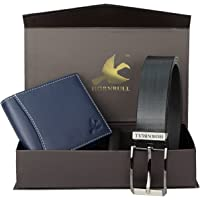 Hornbull Gift Hamper for Men | Navy Wallet and Black Belt Men's Combo Gift Set | Leather Wallets for Men | Men's Wallet…
