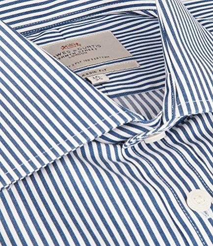 Hawes & Curtis Herren Business Hemd Gestreift Klassischer Schnitt Buegelleicht Marineblau/Weiss