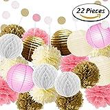 Paxcoo 22 Pcs Pink Gold Tissue Pom Poms Fleurs Lanternes en papier Polka Dot Garland pour Anniversaire Décorations pour baby shower