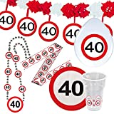 Cinta de contención 40 cumpleaños señal de tráfico Banner fiesta Banda prohibido el paso Banda aniversario Cinta fiesta cumple Barrera de plástico Elemento de contención