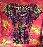 Queen Indian Red Gelb Elefant Psychedelic Wandteppich Mandala Überwurf Hippie Gypsy, Bohemian Wohnheim Deco 100% Baumwolle 233,7x 213,4cm