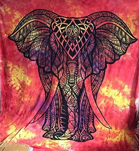 Reina India Rojo Amarillo Elefante Diseño psicodélico Tapiz Colgar en la Pared Mandala Manta Hippie Gitana Cubierta de Flores Dormitorio Deco 100% algodón 92'X 84'
