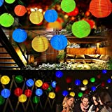 SanGlory Solar Lichterkette 30er led Bunt Lampion 6M Wasserdicht Laterne String-Leuchten mit 8 Modellen für Party, Garten, Weihnachten, Halloween, Hochzeit, Beleuchtung Deko in Innen und Außenbereich(Mehrfarbig)