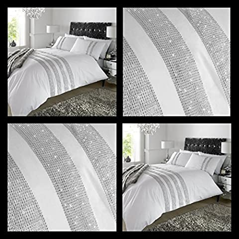TTO Duvet Cover White Diamante Crystal Quilt Bedding Set Percale