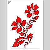 QBIX Stencil fiore - Stencil fiori di campo - Stencil due fiori - Formato A5 - Stencil fai-da-te riutilizzabile adatto ai bam