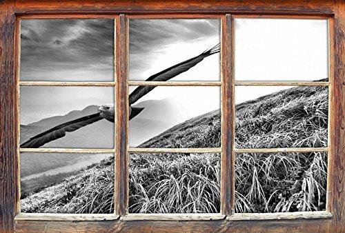 Preisvergleich Produktbild Monocrome, Majestätischer Weißkopfseeadler Fenster im 3D-Look, Wand- oder Türaufkleber Format: 92x62cm, Wandsticker, Wandtattoo, Wanddekoration
