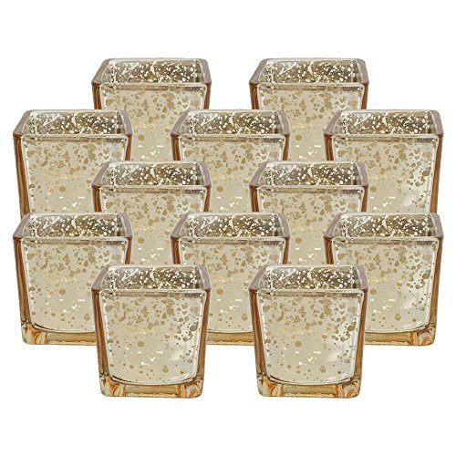 Just Artifacts Quecksilber Glas Quadrat Votiv-Kerzenhalter Einheitsgröße Gold