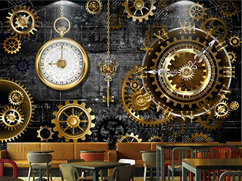 Gewohnheit Irgendeine Größe 3D Dreidimensionale Europäische Und Amerikanische Industrielle Wind Gold Gang Uhr Wandbild Wand Kunst Wohnkultur Tapete Wandbild (Ufc-gang)
