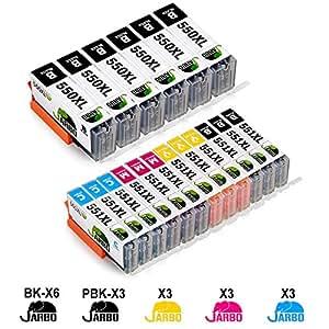 JARBO Canon PGI-550XL CLI-551XL Cartucce d'inchiostro Alta Capacità Compatibile con Canon Pixma MG5400 MG5450 MG5550 MG5650 MG6450 MG6650 MG7500 MX725 MX925 IX6850 IP7200 IP7250 (6 Grande Nero,3 Piccolo Nero,3 Ciano,3 Magenta,3 Giallo)