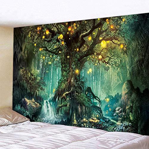 Naturer Baum des Lebens Wandteppich Wald 180x230cm Wandbehang Himmel in Wald Grün Tapisserie Nacht Boho Psychedelic Wandtuch Hausdeko für Wohnzimmer Schlafzimmer