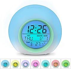 HAMSWAN 【zurück zu Schulgeschenk Wecker, JL-C018 7 Farben ändern Wecker, batteriebetrieben, 12/24 Stunden, One-Tap-Control, Schlaf-freundlich mit Innentemperaturanzeige für Kinder, Home, Office