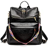 INOVERA Vegan Leather Girl's Travel Casual Collage Backpack With Shoulder Strap (Black)