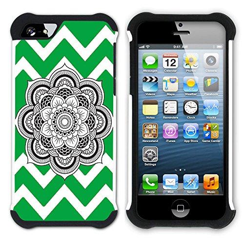 Graphic4You Mandala Blume Winkel Muster (Wasserblau) Hart + Weiche Kratzfeste Hülle Case Schale Tasche Schutzhülle für Apple iPhone SE / 5 / 5S Grün