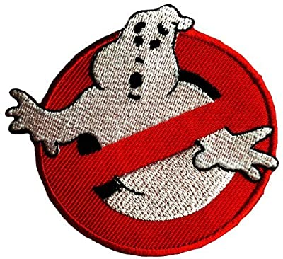 Iron on patches - Ghostbuster Comic children Film - red - Ø7,5cm - Application Embroided patch badges : everything £5 (or less!)