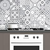 Ambiance-Live Carreaux de ciment adhésif mural - azulejos - 15 x 15 cm - 60 pièces