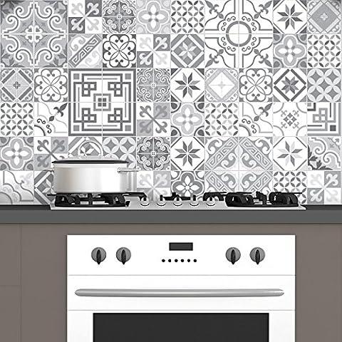 60 Stickers adhésifs carrelages   Sticker Autocollant Carrelage - Mosaïque carrelage mural salle de bain et cuisine   Carrelage adhésif - design vintage nuances de gris - 10 x 10 cm - 60 pièces