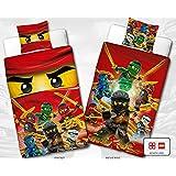 Réversible Linon Parure de lit pour enfant Lego Ninjago - Fire - Neuf & Emballage d'origine - 135 x 200 cm + 80 x 80 cm - 100% coton - Cole - Jay - Kai - Lloyd - Zane - Nya - Misako - Sensai Wu - Allemande Taille
