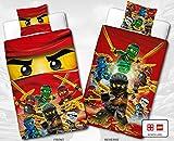 Wende Linon Kinder Bettwäsche Lego Ninjago - Fire - Neu & Ovp - 135 x 200cm + 80 x 80cm - 100% Baumwolle - Cole - Jay - Kai - Lloyd - Zane - Nya - Misako - Sensai Wu - deutsche Größe