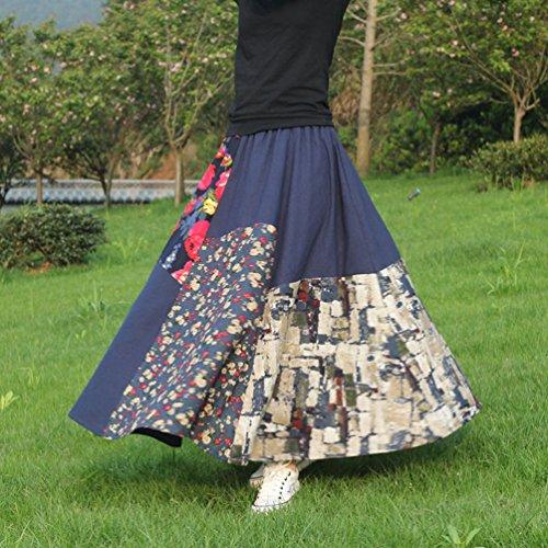 NiSeng Femme Longue Jupe Imprimée Jupe Longue Gitane Maxi Jupe Fleurie Bleu