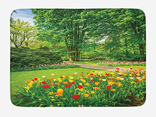 Tulip Cut Outs (CHKWYN Garden Bath Mat, Garden in Keukenhof Colorful Tulip Flowers and Trees Foliage Spring Season, Plush Bathroom Decor Mat with Non Slip Backing, 23.6 W X 15.7 W Inches, Green and Yellow)