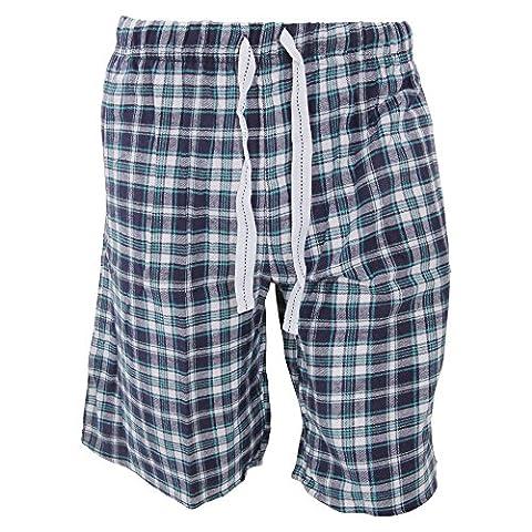 Cargo Bay Mens Plaid Pattern Flannel Pyjama Shorts (Large (Waist: 36-38inch, 91-96cm))