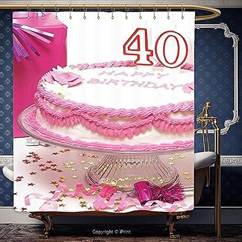 Iprint 182,9x 182,9cm Rideau de douche 40ème anniversaire décorations Rose Crème gâteau avec bougeoirs Boîte cadeau surprise fête Rose Blanc Rouge 00116Polyester Accessoires de salle de bain Décoration de la Maison, Polyester, Multy, 72W x 72H Inch
