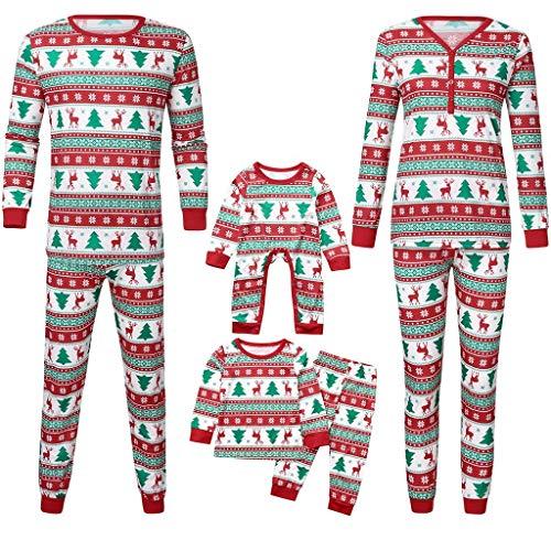 RYTEJFES Schlafanzüge für die ganze Familie, Damen Herren Kinder Mädchen Jungen Baby Langarm Baumwolle Warm Nachtwäsche + Schlafanzughose Schlafanzug Familie Pyjama Set 2PCS