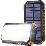 Cargador Solar 26800mAh, Riapow Power Bank Solar con 60 Leds Brillantes y 3 Salidas USB, Cargador de Teléfono Solar con Carga
