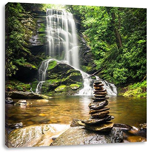 Zen Steine vor Wasserfall, Format: 40x40 auf Leinwand, XXL riesige Bilder fertig gerahmt mit...