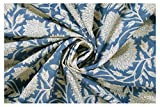 #6: 100% Pure Cotton Fabric Handmade White Floral Printed Garment Fabric, Cloth Material Fabric, Sanganeri Hand Block Print Fabric By Handicraft-Palace (3 Meter)
