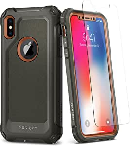 iPhone X Case, Spigen® [Pro Guard] iPhone X Full Body Case, Full Protection Case with Extreme Protection and Heavy Duty Protection and Air Cushion Technology for iPhone X (2017) - Army Green
