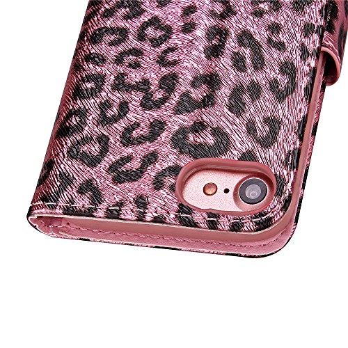 Blumen Hülle für iPhone 7,Leder Hülle für iPhone 7,iPhone 7 Schwarz Leder Handy Tasche Wallet Case Flip Cover Etui für iPhone 7 4.7 Zoll 2016,EMAXELERS iPhone 7 Case Leder Leather Solid Schmetterling  Leopard 2