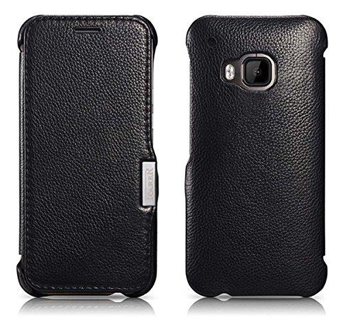 Luxus Tasche für HTC one M9 / Case Außenseite aus Echt-Leder / Innenseite aus Kunstleder / Modell: Business / Schutz-Hülle seitlich aufklappbar / ultra-slim Cover / Farbe: Schwarz
