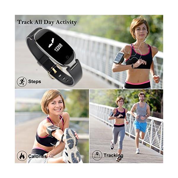 Pulsera Monitor de Actividad Pulsómetro y Podómetro para Mujeres Impermeable IP67, con Bluetooth Contador de Pasos y Monitor de Sueño para Smartphones con Android e iOS: iPhone, Samsung de WOWGO 3