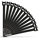 GWHOLE 50 pcs Self Gripping Reuseable Hook & Loop Cable Ties Fastener Stick Straps 12x200mm - Black