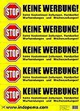 Keine Werbung! 5 gelbe Briefkastenaufkleber - Keine kostenlosen Zeitungen, Handzettel, Wurfsendungen und Wochenzeitungen!