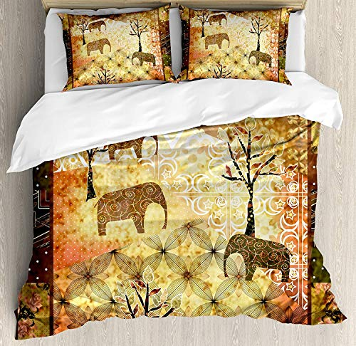 LIS HOME Juego de Funda nórdica Africana King Size, Patchwork Inspired Pattern...