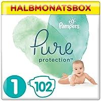 Pampers Baby Windeln Größe 1 (2-5 kg) Pure Protection, 102 Stück, HALBMONATSBOX, Mit Premium-Baumwolle Und…