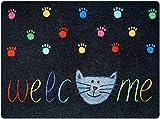 deco-mat Designer Door & Floor Mat for your hallway, bathroom, indoor and outdoor areas | Anti-slip and Washable | Practical mud wiper and dust trap DOORMAT | Cats Welcome 50 x 70 cm Multicolour